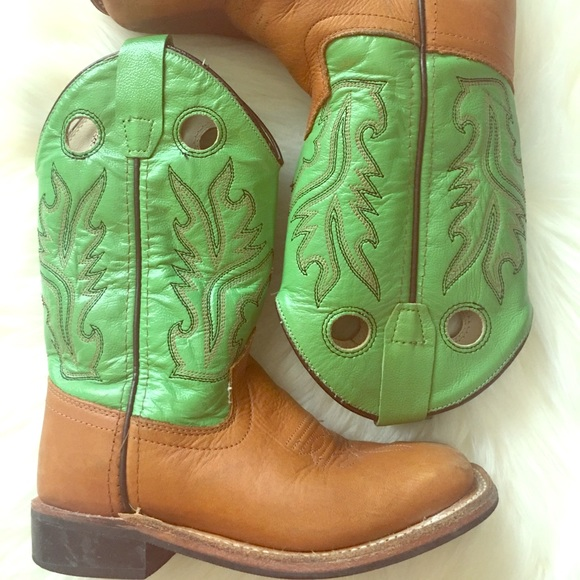 58053bf9262f0 Boys Old West Leather Cowboy Boots Size 12.0 Green